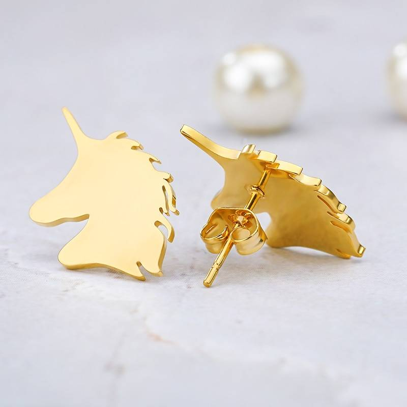Unicorn Earings Fashion Jewelry Surgical Steel Nickel Free Minimal Cute Earrings Kids Gifts Women Charm Ear Stud Accessories BFF