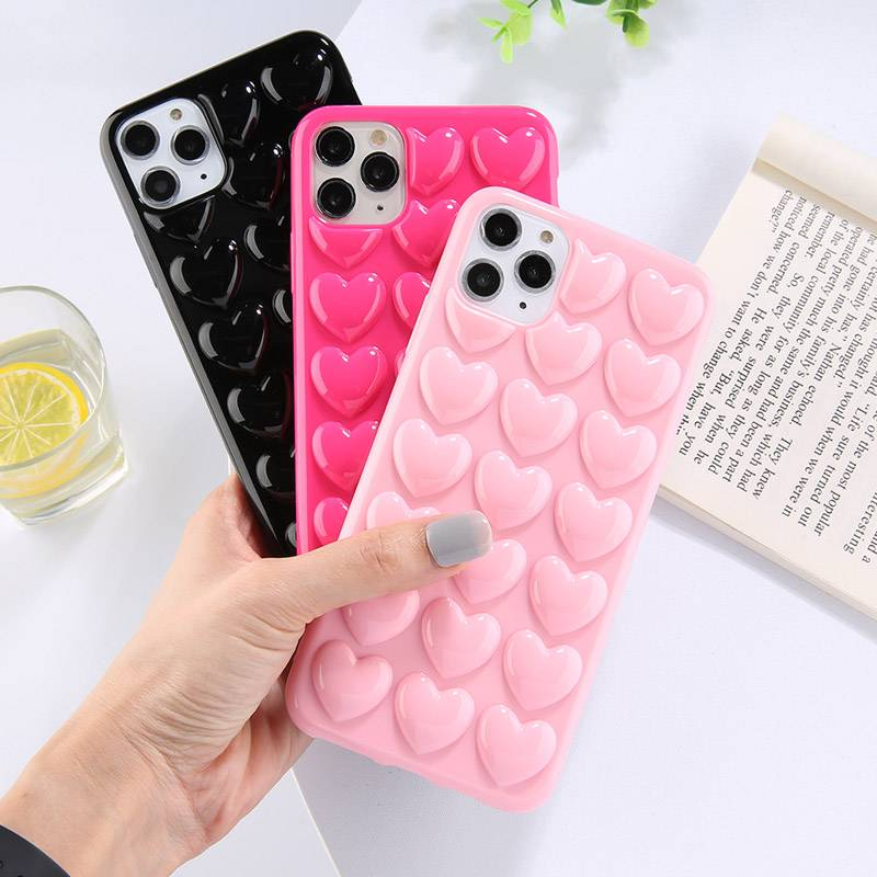Ottwn 3D Love Heart Case For iPhone 11 Pro Max XR XS Max 7 8 6 6S Plus Candy Color With Lanyard Strap Silicone Soft Back Cover Phone Cases Material : For iPhone 11|For iPhone 11 Pro|For iPhone 11Pro Max|For iPhone 6 or 6s|For 6Plus or 6s Plus|For iPhone 7|For iPhone 7 Plus|For iPhone 8|For iPhone 8 Plus|For iPhone X|For iPhone XS|For iPhone XS Max|For iPhone XR