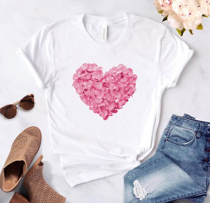 pink heart flower Print Women tshirt Cotton Casual Funny t shirt Gift 90s Lady Yong Girl Drop Ship PKT-894 Women's Clothing Color: White Size: XXS|S|M|L|XL|XXL|XXXL