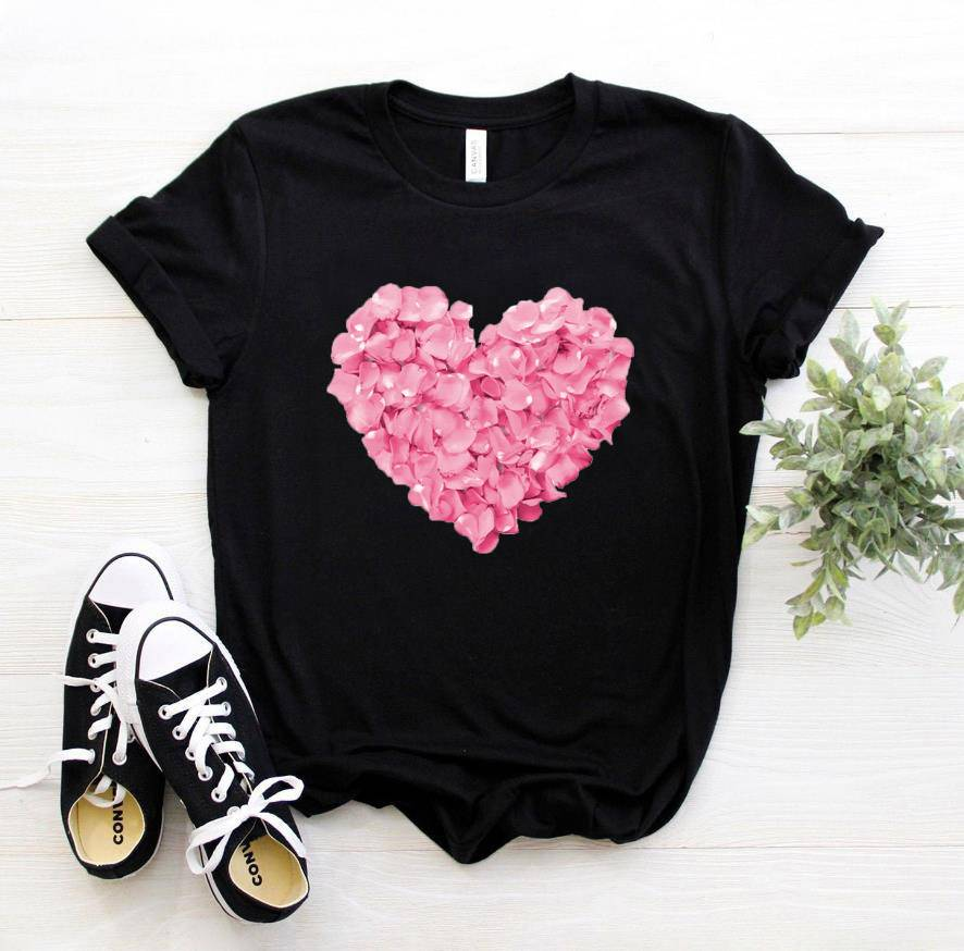 pink heart flower Print Women tshirt Cotton Casual Funny t shirt Gift 90s Lady Yong Girl Drop Ship PKT-894 Women's Clothing Color : Black|White