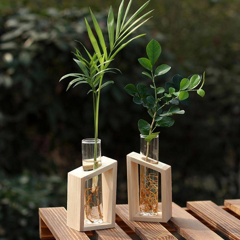 Hot Sale Crystal Glass Test Tube Vase in Wooden Stand Flower Pots for Hydroponic Plants Home Garden Decoration