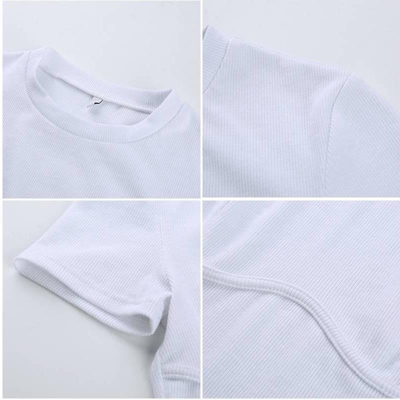 SUCHCUTE Female T-Shirt Crop Top White Shirt Strap Poleras Mujer De Moda 2019 Summer Polera Blanca Hot Casual Korean Style Women Color : white tee