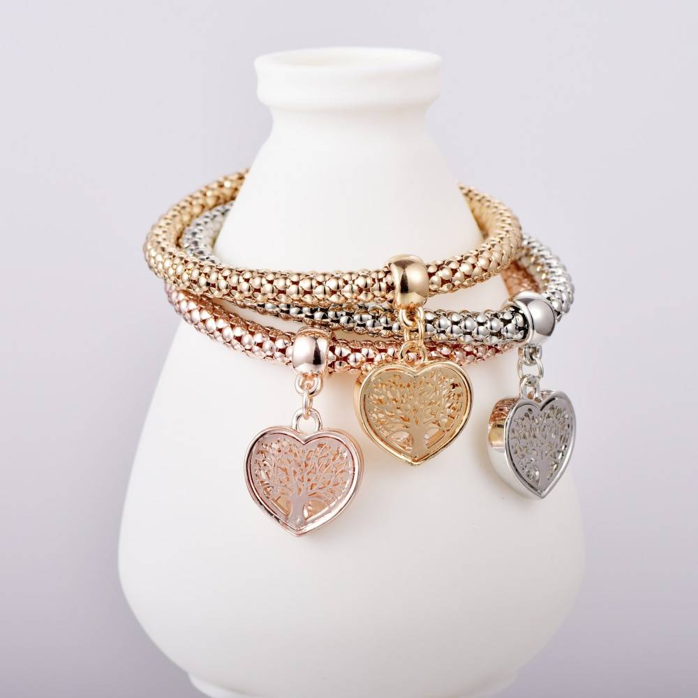 """TREE OF LIFE"" Heart edition Charm Bracelets For Women Gold Color 2019 Ethnic Love Crystal Bracelets & Bangles B158"