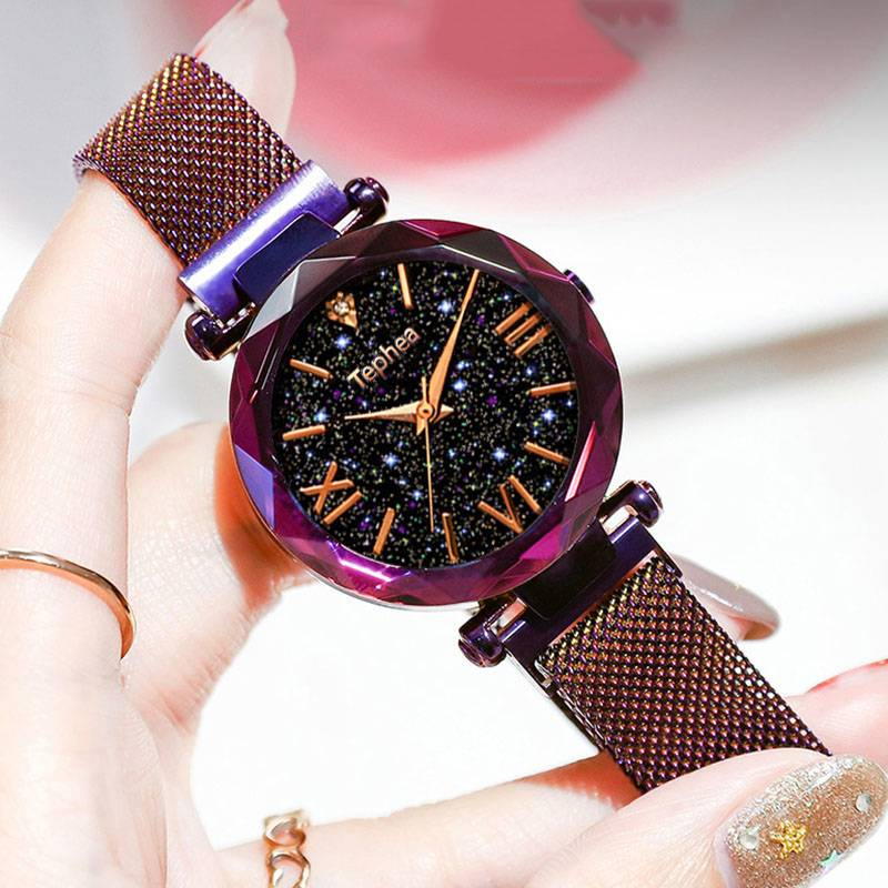 Watches women's luxury magnetic starry sky woman clock Quartz wristwatch fashion ladies wristwatch reloj mujer relogio feminino Accessories Color : Pourpre|Black|Bleu|Golden|pox