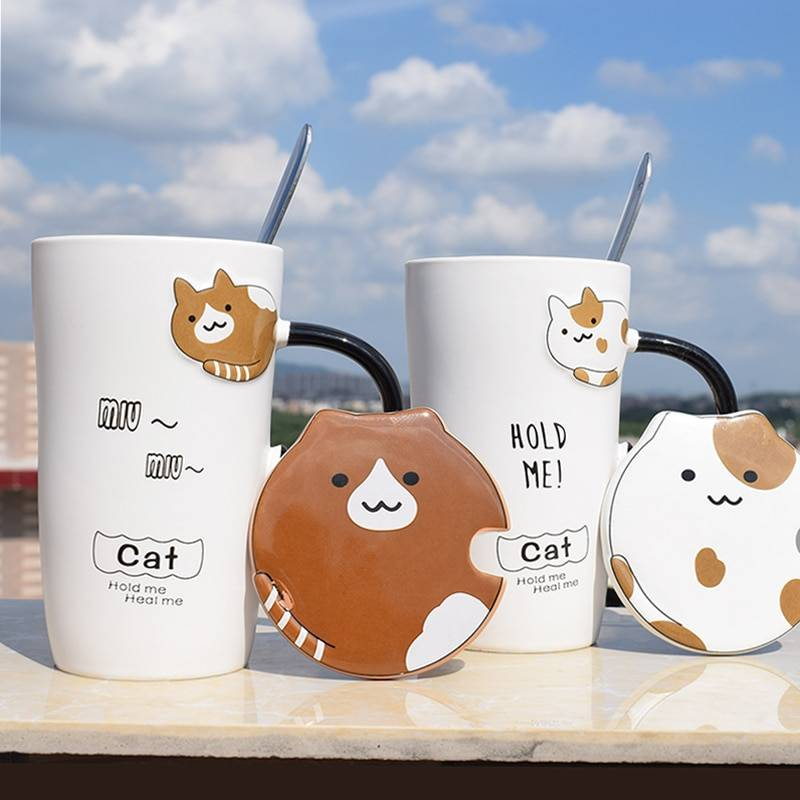 Cute Cat Ceramics Coffee Mug With Lid Large Capacity Animal Mugs creative Drinkware Coffee Tea Cups Novelty Gifts milk cup Home & Garden Color : A|B|C|D
