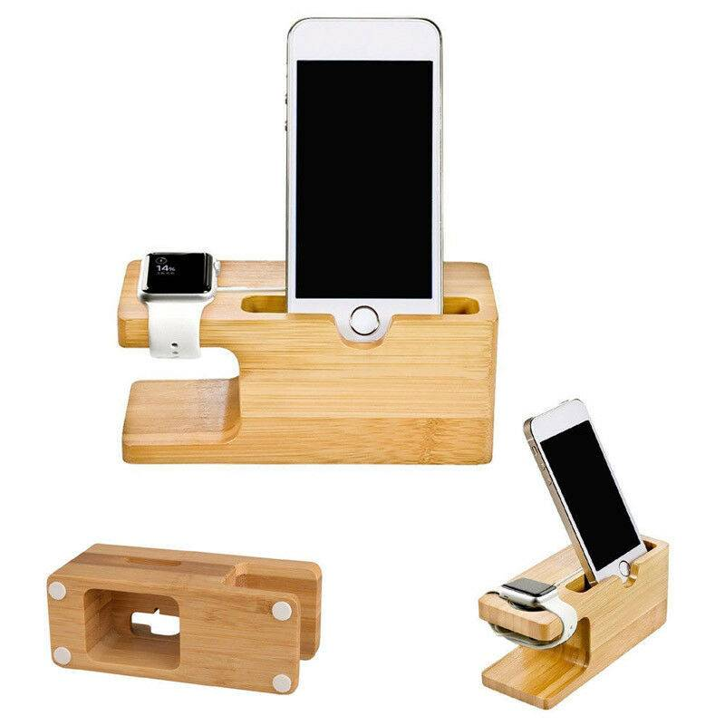 Charging Dock Stand Station Bamboo Base Charger Holder For Apple Watch iWatch iPhone Bamboo Phone Accessories