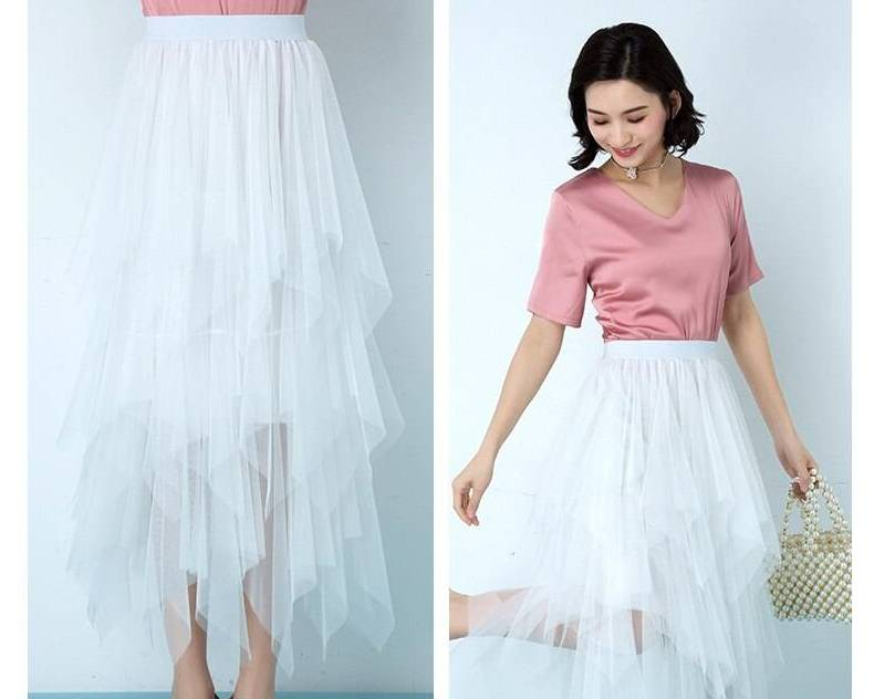 Pleat High-waist Skirt Women's Clothing Color : White|Black|Gray|Brown|Pink|Beige