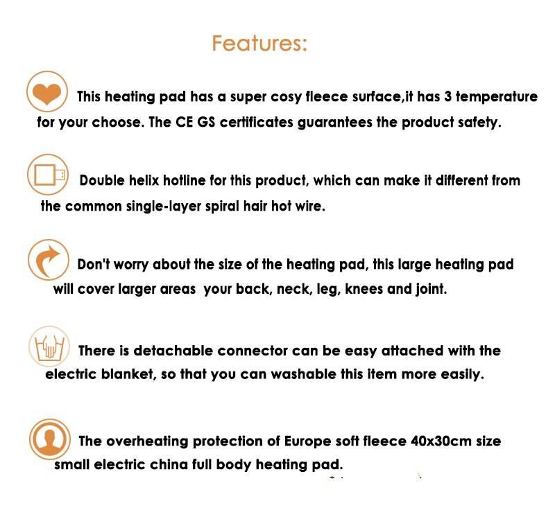 220-240V 100W 40*30cm Microplush Electric Heating Pad for Abdomen Waist Back Pain Relief Winter Warmer 3 Heat Controller EU Plug